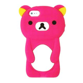 iPhone 4S 3D Cute Teddy Bear Animal Silicone Shell Protector Case Cover Hot Pink