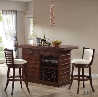 New Pacifica Dark Oak Finish Wood Kitchen Island Home Bar Table Storage
