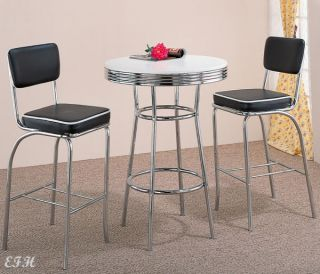 New Cleveland 3pc Retro Chrome Metal Bar Table w Black Stools Chairs