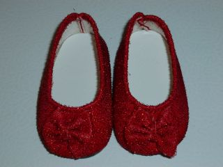 "Fits 18"" Girl Doll Clothes Ruby Red Slippers Shoes Flats Sparkle with Bow"