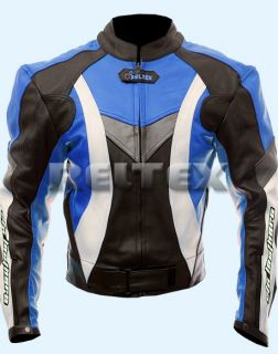 RTX Violator Sport Suzuki GSXR Blue Motorcycle Cowhide Leather Jacket Any Size