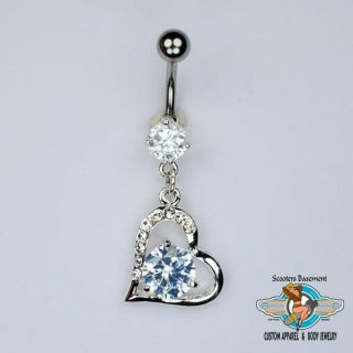 Iced Out Bling Heart Dangle Belly Ring 14 Gauge A10