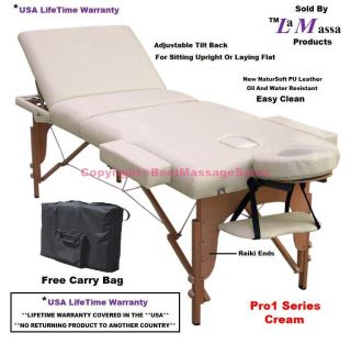 ★usa Lifetime Warranty★new Cream Portable Reiki Massage Table Bed Salon 1M3D