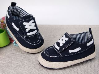 New Toddler Baby Boy Navy Blue Hard Sole Sneakers Shoes 6 9 12 18 Months A1000