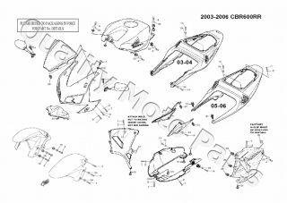 Honda CBR 600RR Fairing Kit Only Bolts Screws Washers 2003 2004 CBR600RR