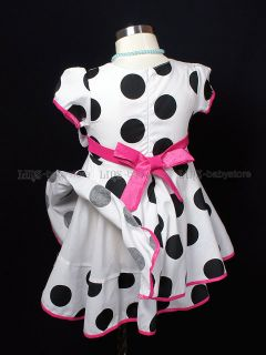 New Kids Toddler Girl White Black Dots Party Dresses Clothes 1 2 3 4 5 Years