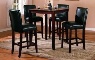5pc Black Leather Dining Pub Table Set 4 Stools Chair
