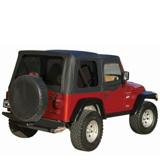 Rampage Soft Top with Skins Tinted Windows for 97 06 TJ Jeep Wrangler in Black