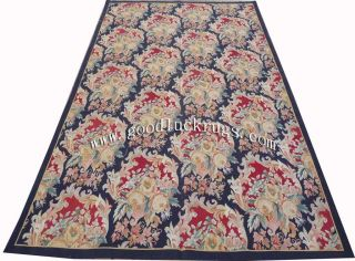 6'x9' Hand Woven Cabbage Roses Wool French Aubusson Flat Weave Rug Brand New