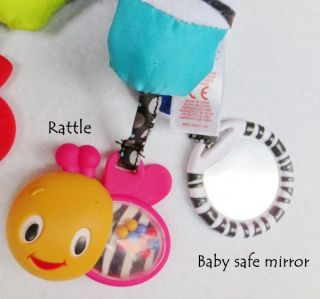 Baby Kids Bright Starts Sensory Rattle Mirror Stroller Soft Plush Doll Toy Pals