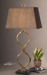 Modern Sculpted Curved Bronze Metal Table Lamp Contemporary Art Light Lighting