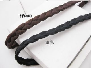 Black Brown Wig Rope Braid Elastic Hair Band Headband Girl Women Accessories New
