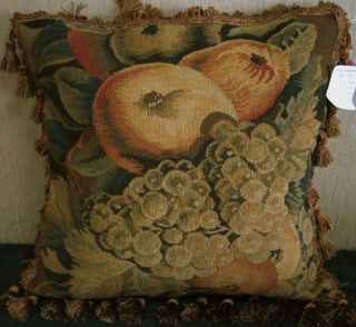 "Pair 18"" Antique Repro French Aubusson Tapestry Weave Decorative Pillow Cushion"