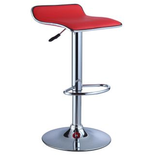 2 PC Red Black Adjustable Faux Leather Seat Backless Swivel Bar Stools Barstools