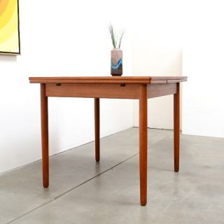 1950s Danish Modern Teak Expanding Square Dining Table Mid Century Vintage
