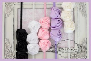 Headband Baby Girl Toddler Christening Flowergirl Satin Rosette Thin Elastic