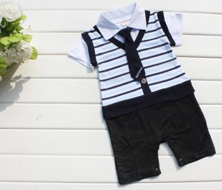 1pc Baby Boy Kid Top Pants Romper Jumpsuit Tie Outfit Clothes Bodysuits Striped