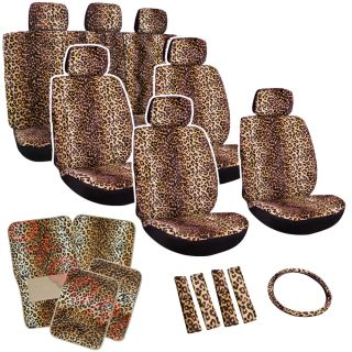 27pc Set Seat Cover Beige Leopard Cheetah Animal Floor Mat Wheel Belt Head Pads