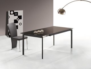 Sofia Modern Glass Top Dining Table with Extension