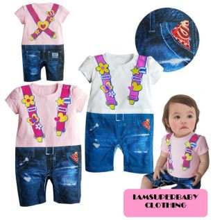 Baby Girl Twins Sweet Little Cute Romper Pink White Shirt Jeans Outfit