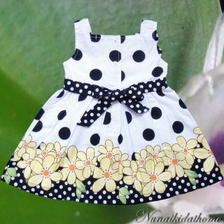 White Black Polka Dot Flowre Baby Girls Dress Short Set Size 12 24 Months