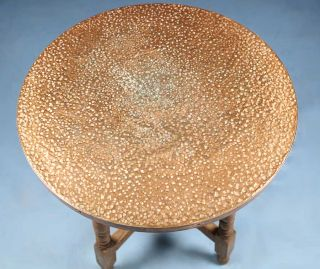 English Antique Oak Copper Top Round Occasional Lamp Side Table Rustic