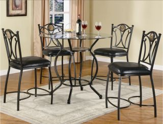 Monroe Black 5 Piece Pub Table Dining Room Set Table 4 Bar Stools Coaster