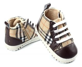 Baby Boy Plaid Soft Sole Crib Shoes Lace Up Walking Sneaker Size 1 2 3