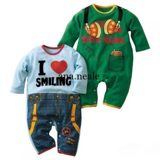 Funky Cute Baby Boy Sleepsuits Fancy Dress Bodysuit Outfit Clothes 3 6 6 9 9 12M