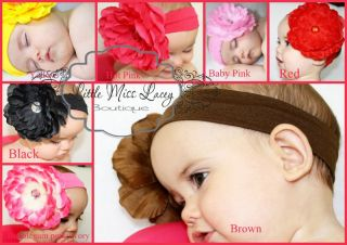 Baby Girl Toddler Lady Large Peony Rose Flower Headband Clip Little Miss Lacey ©