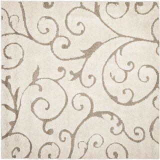 Ultimate Cream Beige Power Loomed Shag Area Rug 5' Square