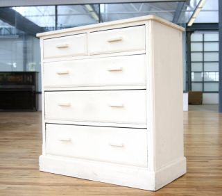 Antique Victorian Chest of Drawers Solid Oak Large Painted Shabby Chic