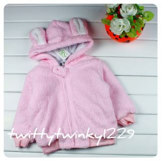 Baby Boy Girl Fleece Animals Hooded Jacket Pink White 6 12M 12 18M 18 24M