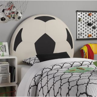 Powell Youth Kids Boys Sports Theme Twin Size Soccer Ball Design PU Headboard