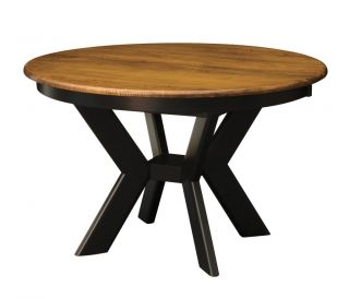 "Amish Round 2 Tone Dining Table Black Modern Leg Kitchen Solid Wood 48"" 54"""
