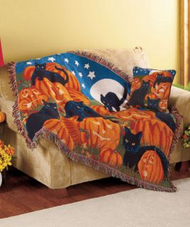 "Halloween Black Cat Pumpkin Moon Star 50""X60"" Tapestry Throw Blanket or Pillow"