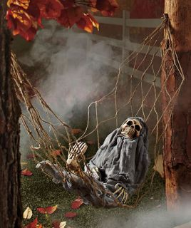 Spooky Animated Interactive Skeleton Hammock Outdoor Halloween Ghoul Yard Prop