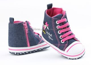 Toddler Baby Girls Minnie Mouse Denim Crib Shoes Size 0 6 6 12 12 18 Months