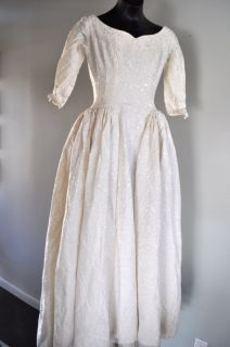 Vintage Emma Domb California Women's Brocade Wedding Dress XXS Fabric Repurpose