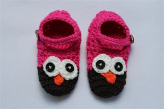 Handmade Knit Crochet Pink Black Owl Baby Hats Shoes Nappy Newborn Photo Prop