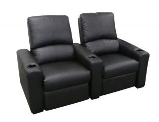 Seatcraft Eros Home Theater Seating 2 Black Seats Push Back Recliner Chairs