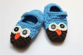 Cute Handmade Knit Cotton Owl Shoes Newborn Baby Girls Boys Photograph New Gift