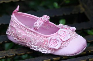 Baby Girl Pink Lace Trim Crib Shoes Rose Ballerina Slippers Newborn to 12 Months