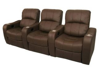 Newport Home Theater Seating 7 Brown Recliner Power Chairs