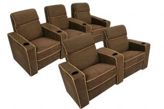 Lorenzo Home Theater Seating Brown Recliners 5 Chairs