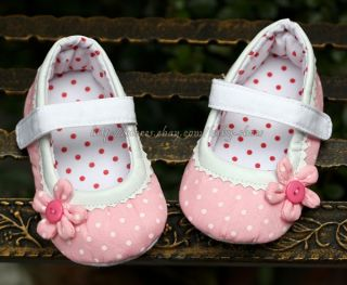 Details about Pink Mary Jane Toddler Baby Girl Polka Dot Walking Shoes