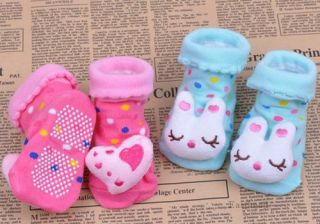 Cute Cartoon Animal Newborn Unisex Baby Warm Socks Indoor Anti Slip Shoes Boots