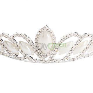 New Elegant Wedding Bridal Pearl Rhinestone Crown Tiara Hair Clip Fashion 752