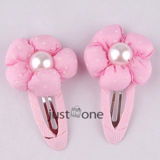 Cute Baby Kid Girl Pumpkin Faux Pearl Centered Flower Hair Clip Clamp Decoration