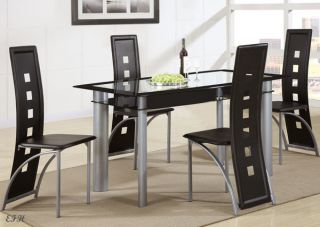 New 5pc Contemporary Calhana Black Glass Silver Finish Metal Dining Table Set